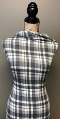 Poly Rayon Spandex Blend Plaid - Gray & Ivory