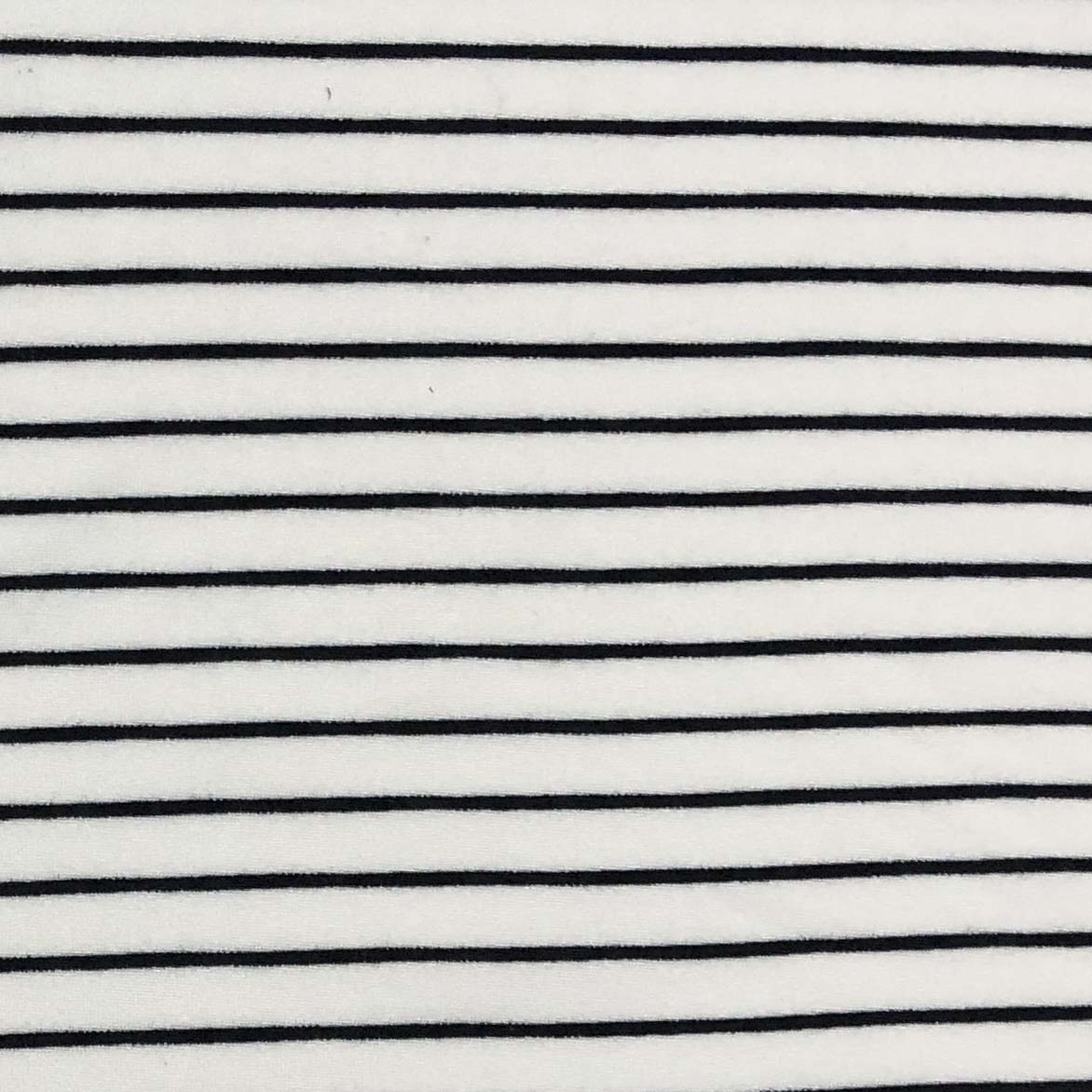 Double Brushed Poly Stripes - Ivory & Black