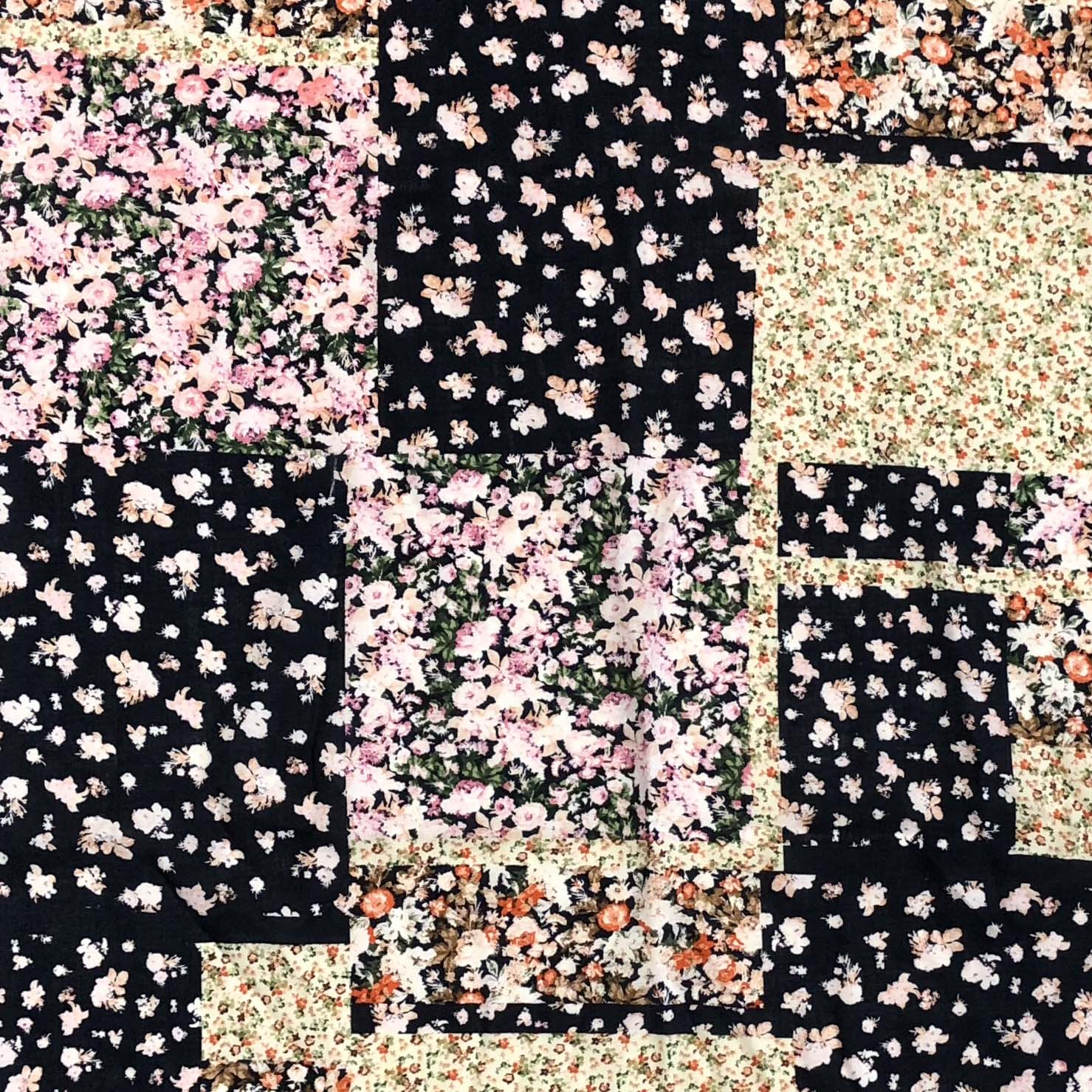Rayon Challis - Patchwork Floral in Navy