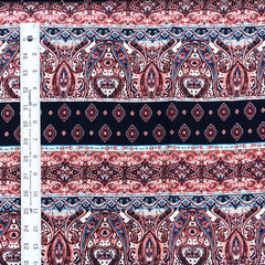 Rayon Challis - Paisley Stripes in Navy and Burgundy