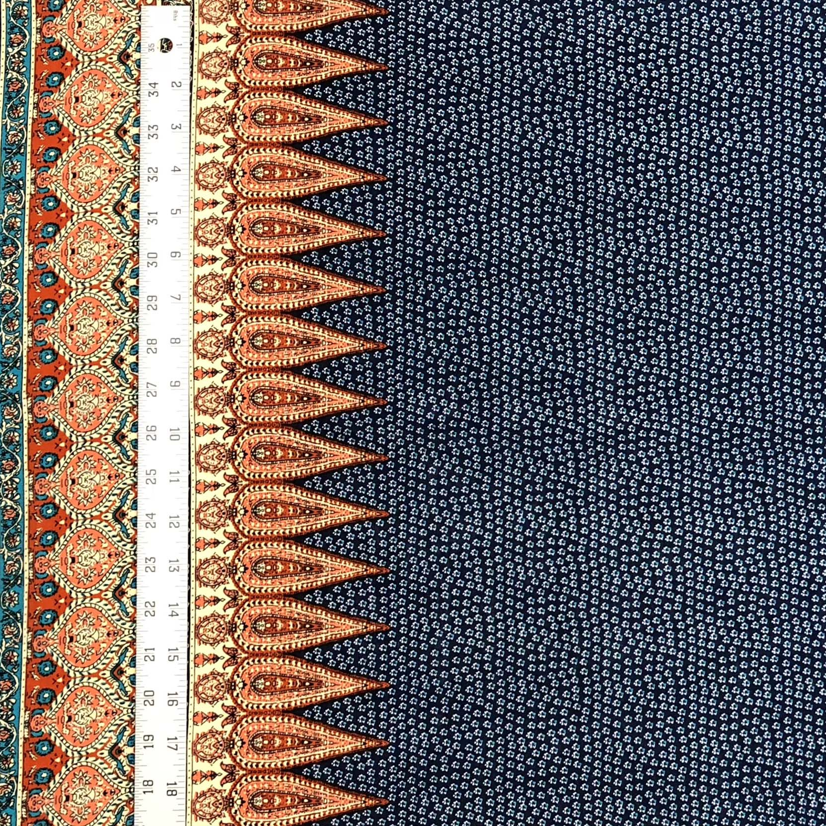 Rayon Challis - Border Print in Navy & Rust