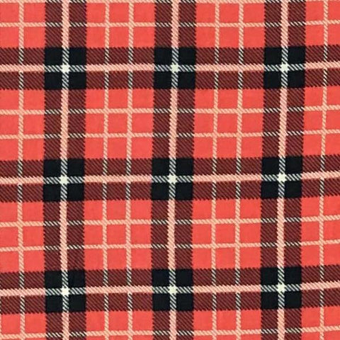 Single Brushed Poly Plaid - Rust