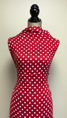 Rayon Challis -  Polka Dots in Red & White