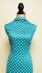 Rayon Challis -  Polka Dots in Jade & White