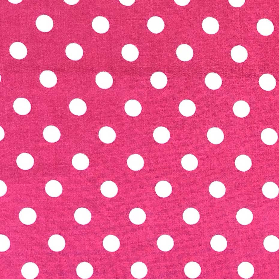 Rayon Challis -  Polka Dots in Hot Pink & White