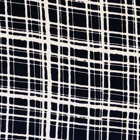 Rayon Challis -  Abstract Windowpane Plaid in Navy & White