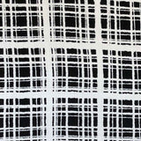 Rayon Challis -  Abstract Windowpane Plaid in White/Black