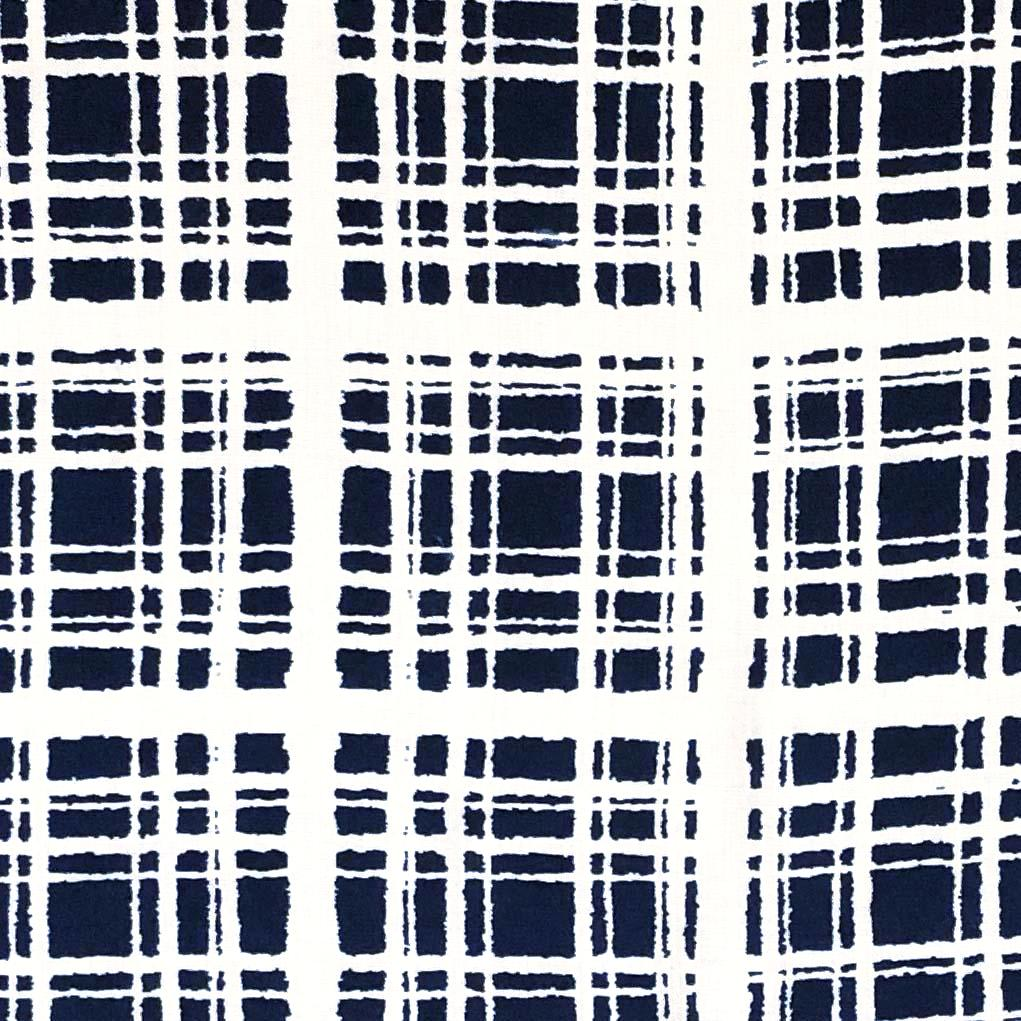 Rayon Challis -  Abstract Windowpane Plaid in White/Navy