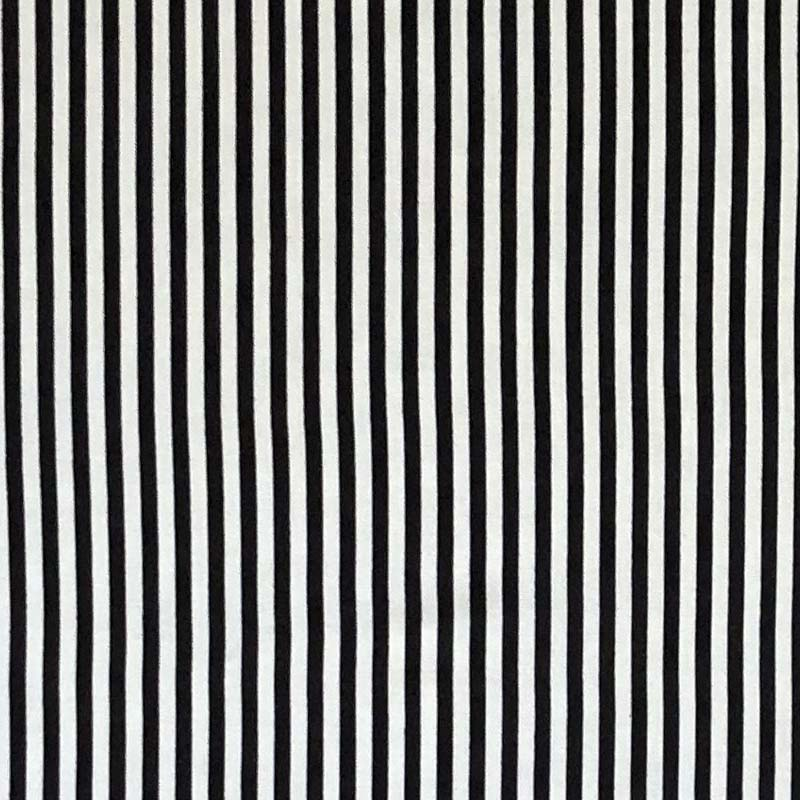 Rayon Challis Stripes - Vertical Black & White Stripes