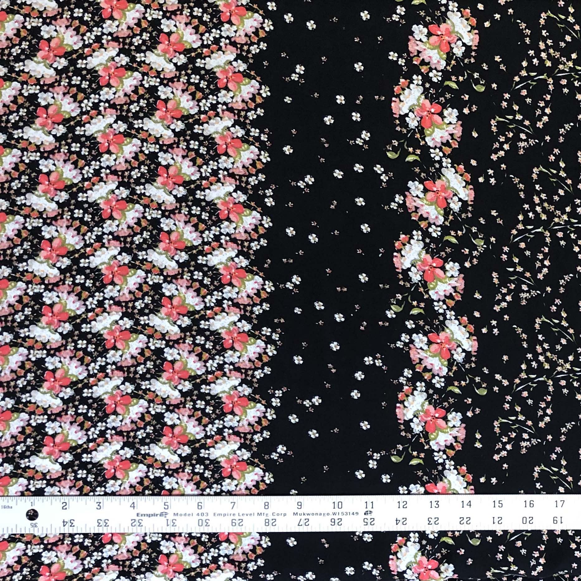 Rayon Challis - Pocketful of Posies in Black