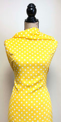 Rayon Challis -  Polka Dots in Yellow & White