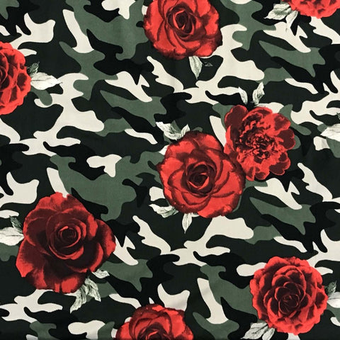 Double Brushed Poly - Floral Camo in Red