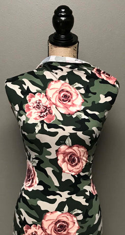 Double Brushed Poly - Floral Camo in Pink