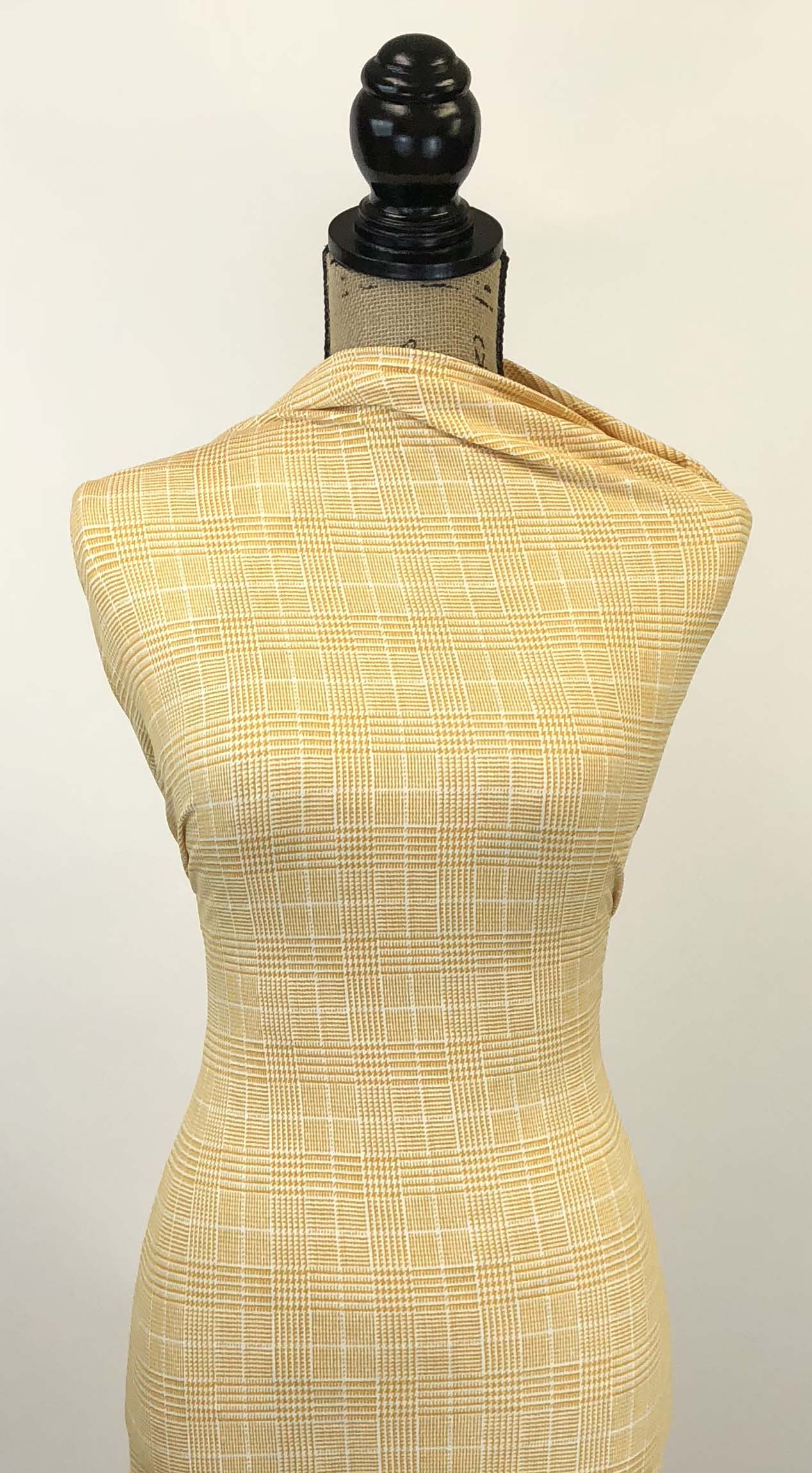 Double Brushed Poly Glen Plaid - Mustard