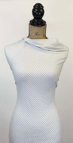 Double Brushed Poly - Ivory & Black Small Polka Dots