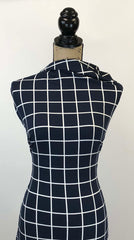 Double Brushed Poly - Windowpane Plaid in Navy