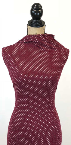 Double Brushed Poly - Burgundy & Ivory Small Polka Dots