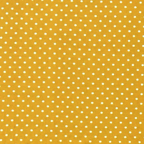 Double Brushed Poly - Gold & Ivory Small Polka Dots