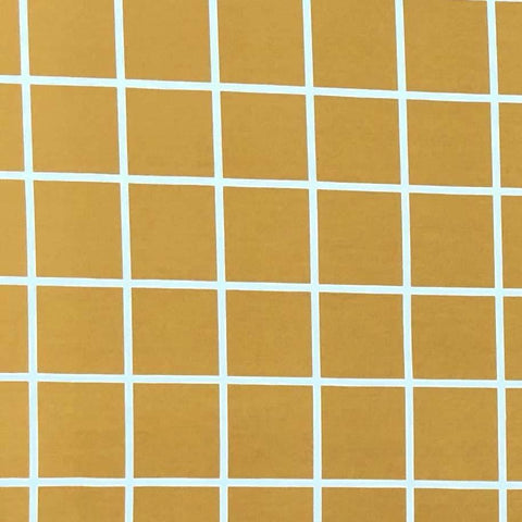 Double Brushed Poly - Windowpane Plaid in Gold