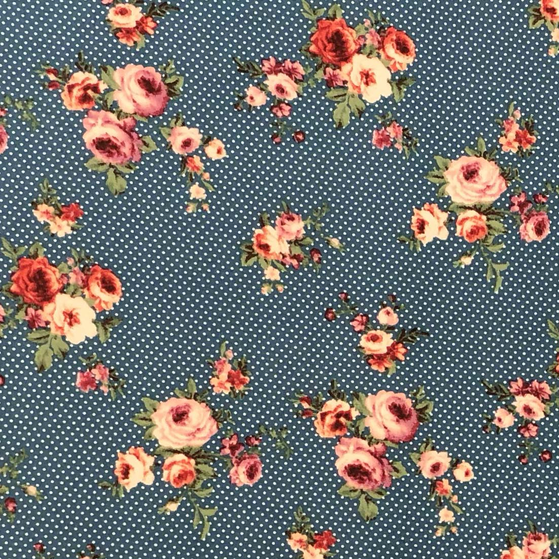 Double Brushed Poly - Small Rose Dots in Denim