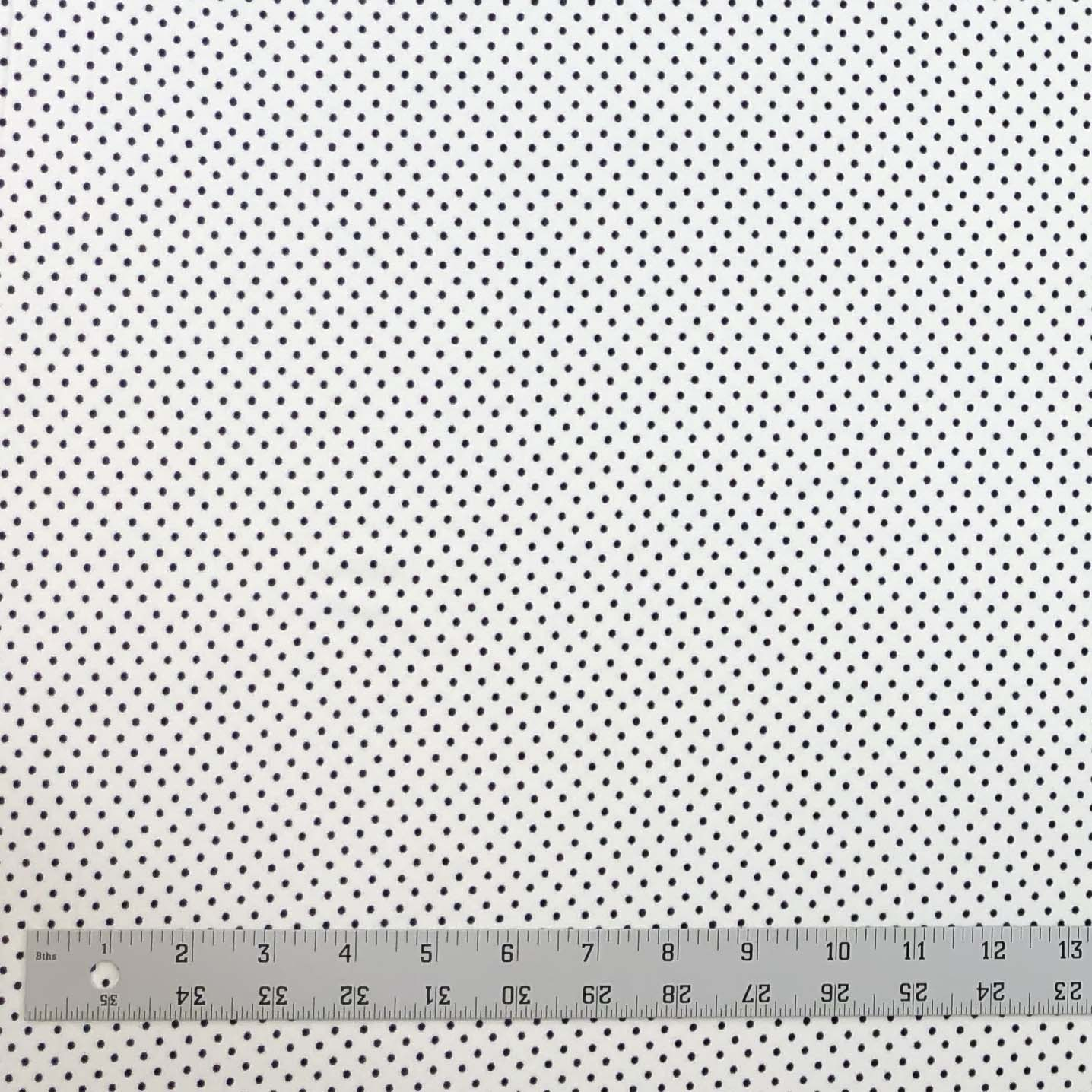 Double Brushed Poly Small Polka Dots - Ivory & Black