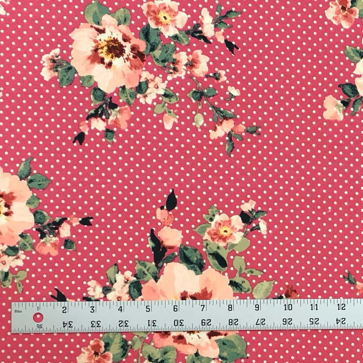 Double Brushed Poly - Floral Dots in Pink