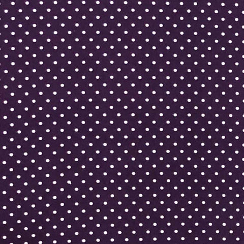 Double Brushed Poly - Eggplant & Ivory Small Polka Dots