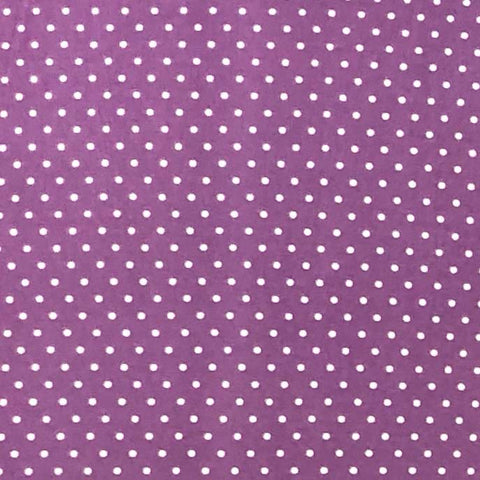 Double Brushed Poly - Lavender & Ivory Small Polka Dots