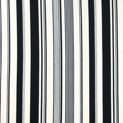 Double Brushed Poly Stripes (Vertical) - Black & Ivory