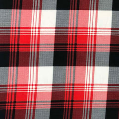Double Brushed Poly Plaid - Red, Black & White