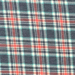 Poly Rayon Spandex Blend Plaid - Navy & Coral