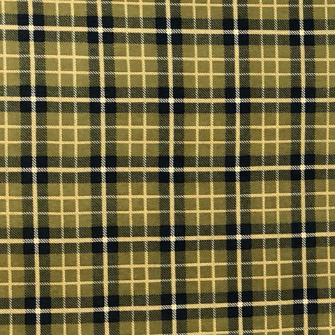 Single Brushed Poly Plaid - Olive