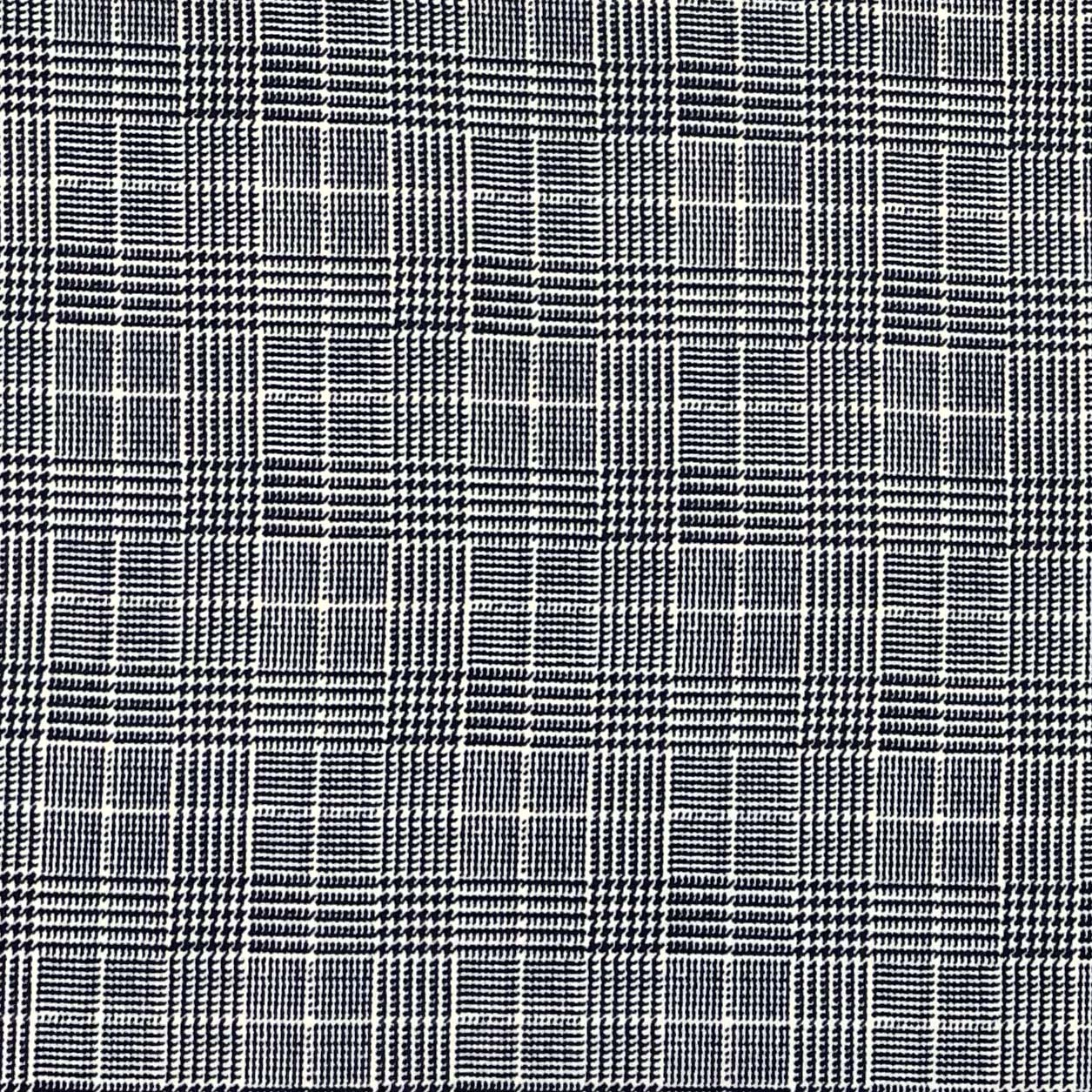 Double Brushed Poly Glen Plaid - Navy
