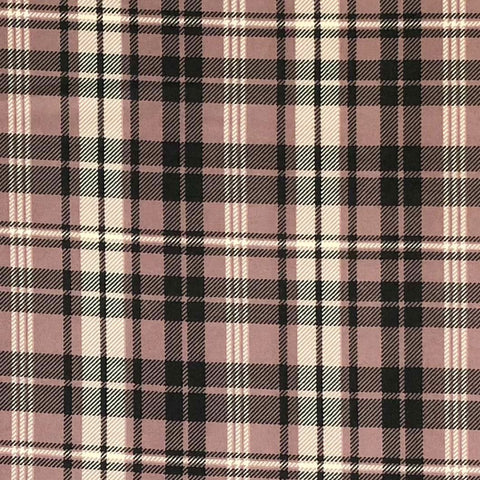 Double Brushed Poly Mauve Plaid