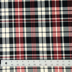 Double Brushed Poly Plaid - Red & Black