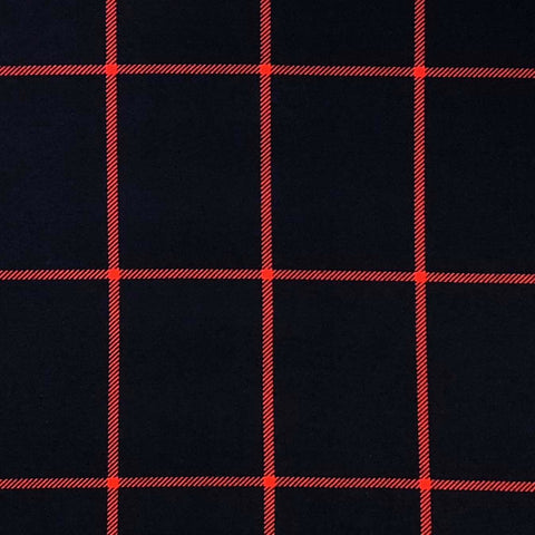 Double Brushed Poly - Windowpane Plaid in Navy & Red