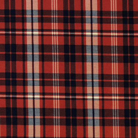Double Brushed Poly Plaid - Red, Navy & White