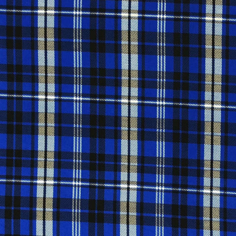 Double Brushed Poly Plaid - Royal Blue