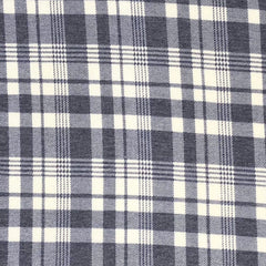 Poly Rayon Spandex Blend Plaid - Denim & Ivory