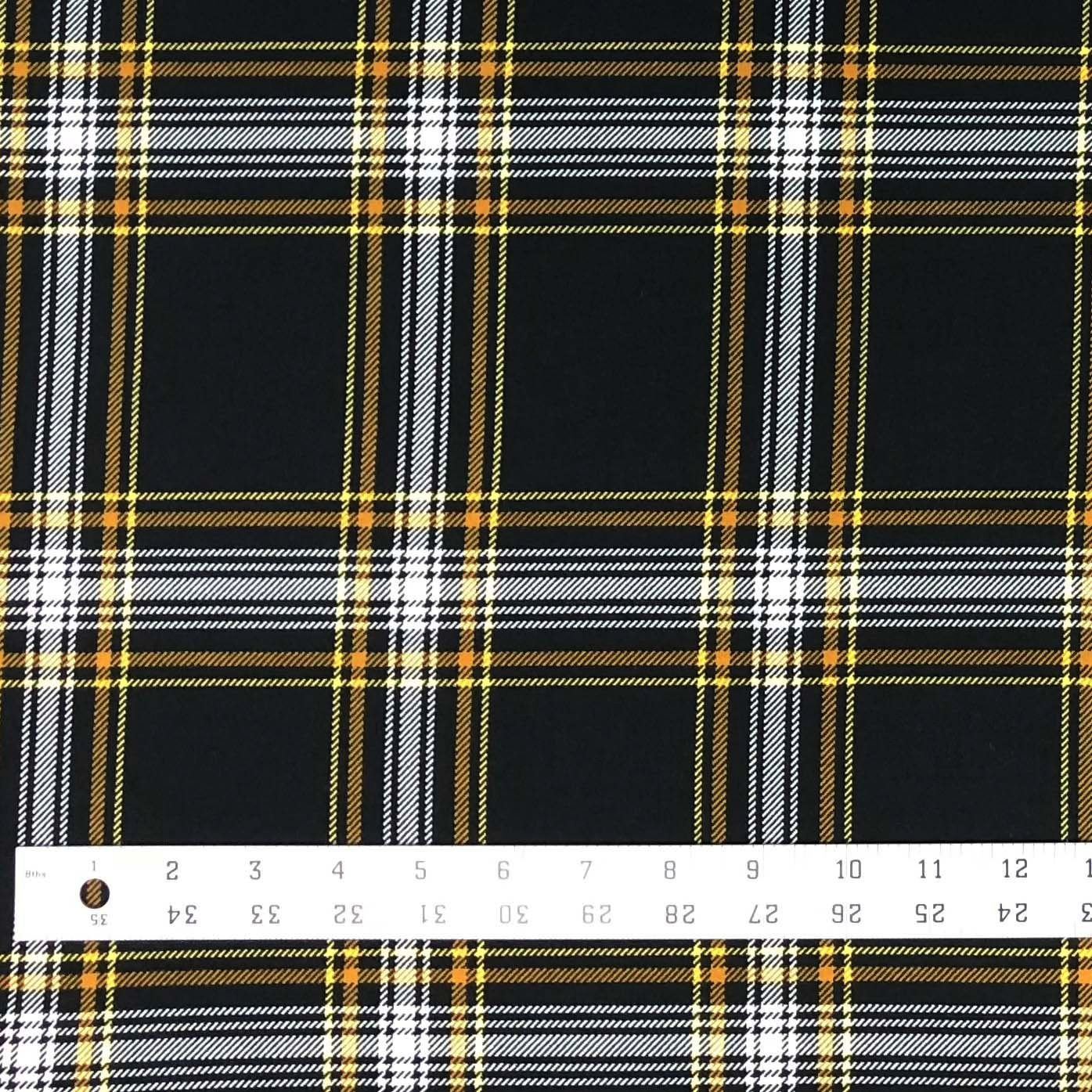 Double Brushed Poly - Windowpane Plaid in Black & Gold