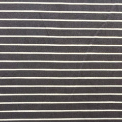 Double Brushed Poly Stripes - Charcoal