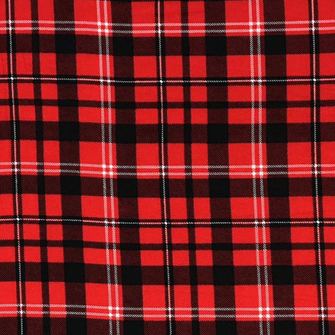 Double Brushed Poly Plaid - Red, Black & Ivory