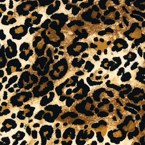 Single Brushed Poly - Animal Print in Caramel