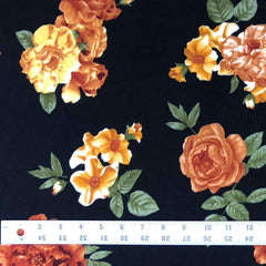 Sweater Knit - Rust & Black Floral