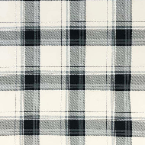 Double Brushed Poly Plaid - Black & Ivory
