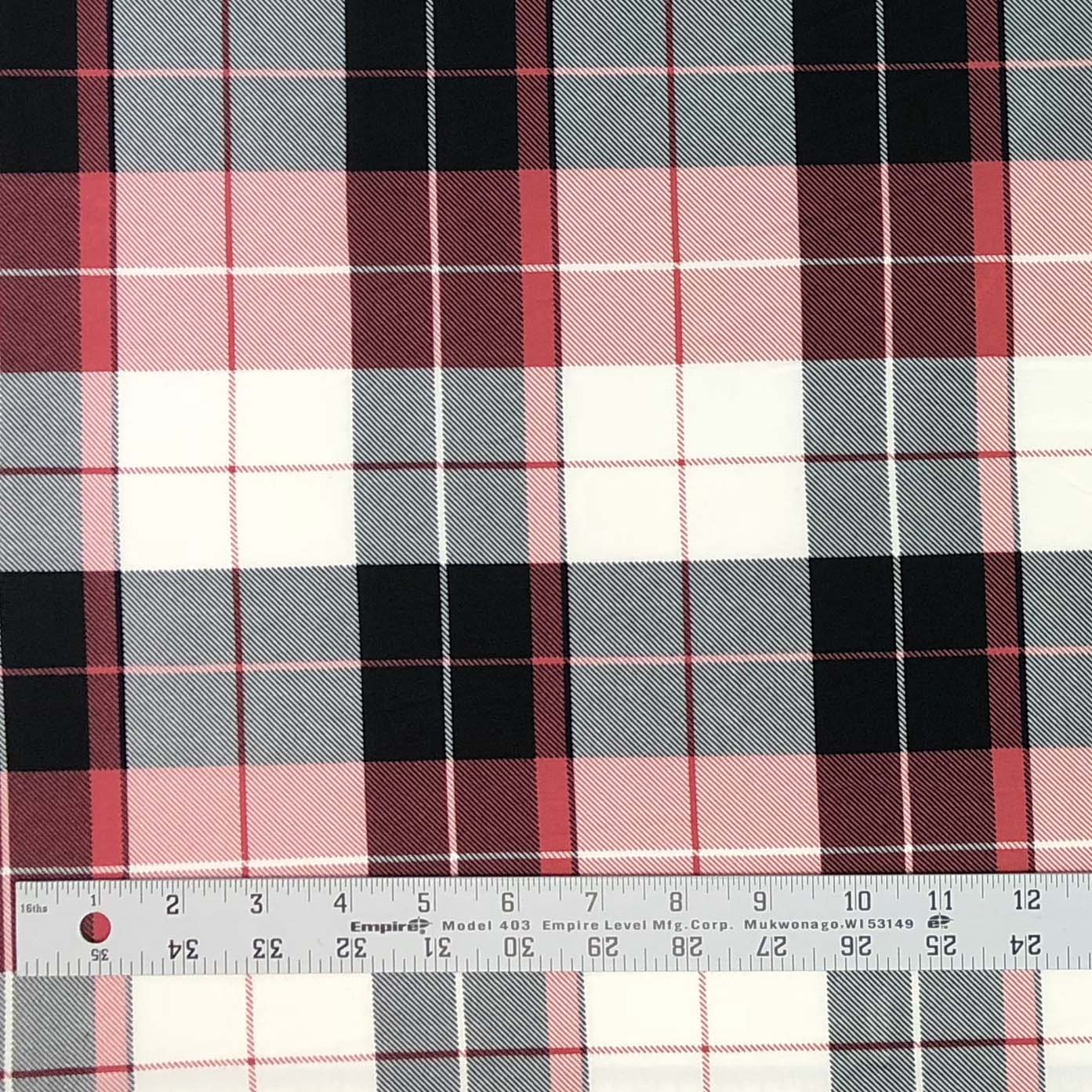 Double Brushed Poly Plaid - Black, Rose & Ivory