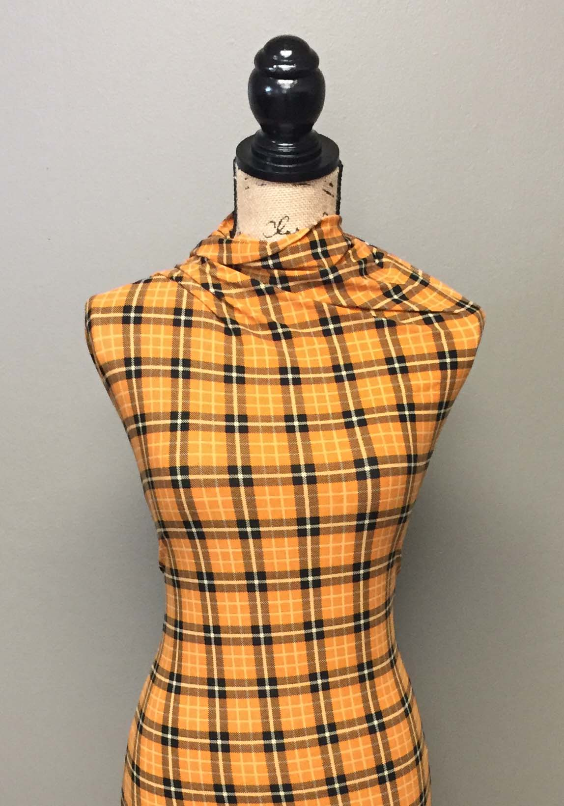 Single Brushed Poly Plaid - Mustard