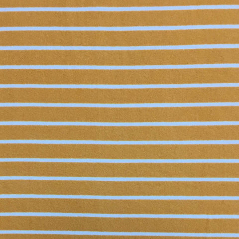 Double Brushed Poly Stripes - Mustard
