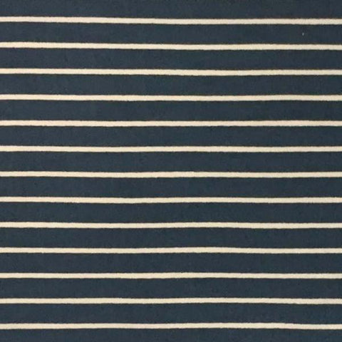 Double Brushed Poly Stripes - Dark Chambray