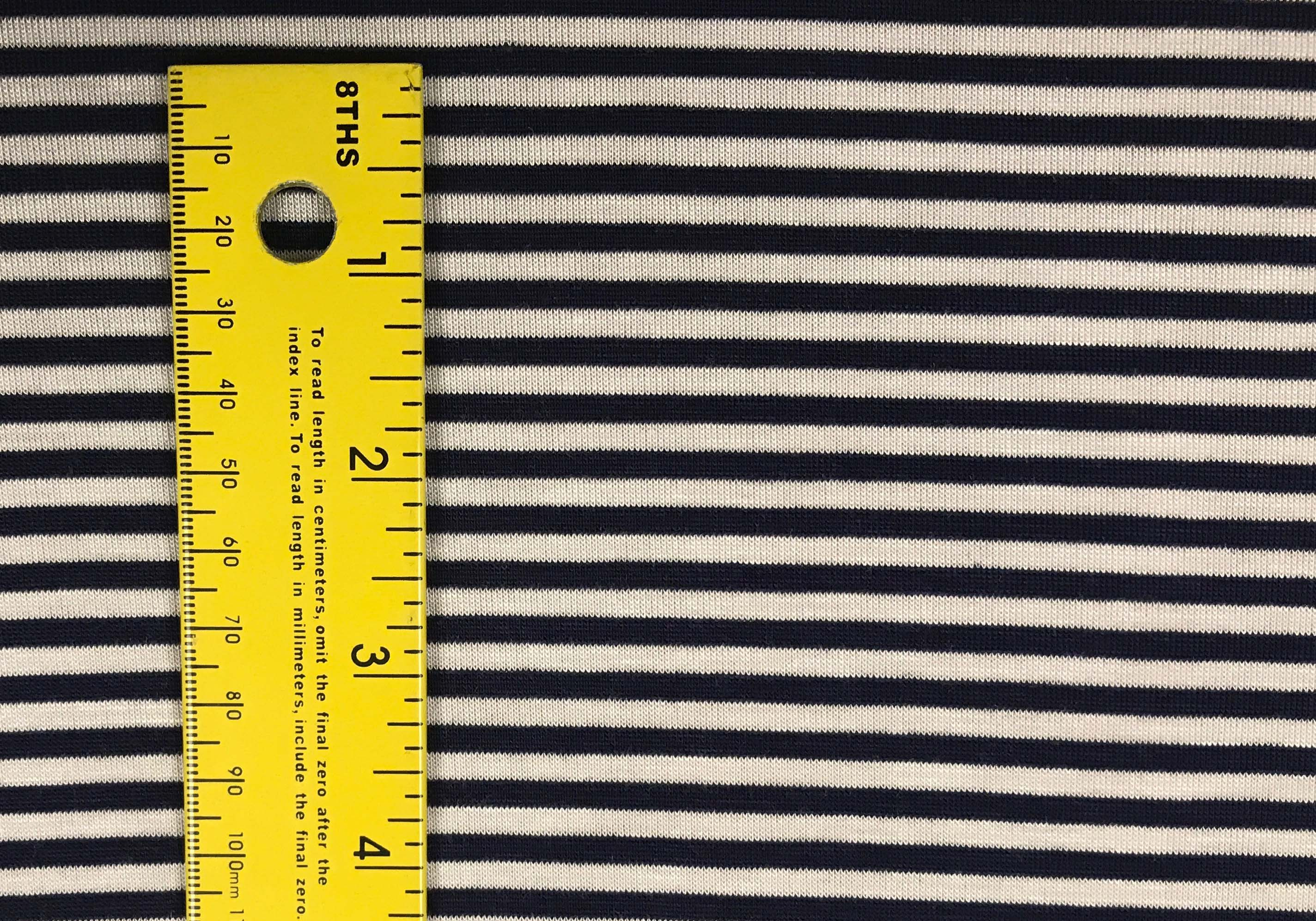 Rayon Spandex Thin Stripes - Navy & White